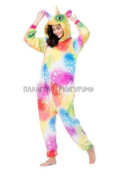 Кигуруми Разноцветный Единорог  (велсофт) для взрослых