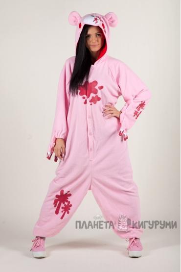 Пижама-кигуруми Мрачный медведь розовый для взрослых