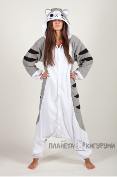 Пижама-кигуруми Серый кот для взрослых
