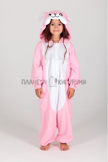 Кигуруми Розовый заяц из флиса для детей