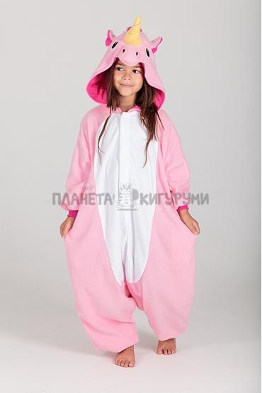 Кигуруми Единорог розовый из флиса для детей