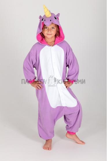 Кигуруми Радужный единорог фиолетовый из флиса для детей