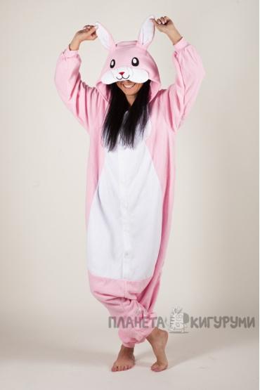 Пижама-кигуруми Розовый заяц для взрослых
