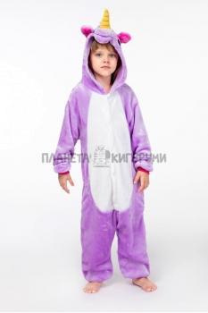 Кигуруми Единорог фиолетовый из велсофта для детей