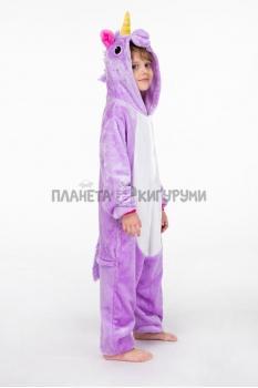 Кигуруми Единорог фиолетовый детский (велсофт)