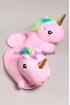 Открытые Тапочки плюшевые Радужные Единороги розовые
