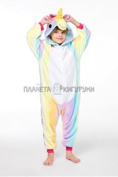 Кигуруми Единорог радужный из велсофта  для детей