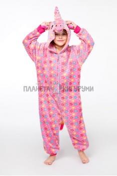 Кигуруми Звездный Единорог розовый из велсофта для детей