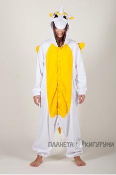 Пижама-кигуруми Единорог желтый для взрослых