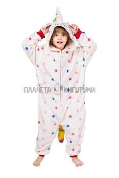 Кигуруми Единорог звездный белый из велсофта для детей