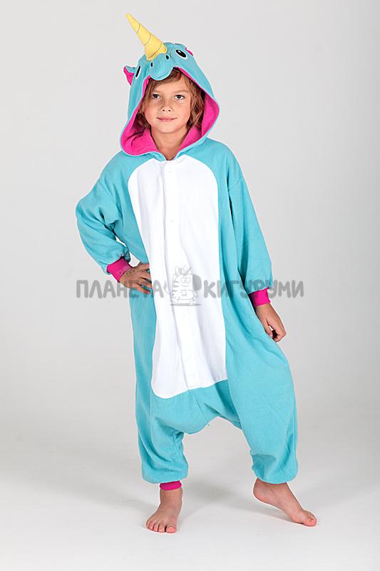 Кигуруми Единорог голубой для детей - купить детскую пижаму Единорог ... 1080ffcada93e