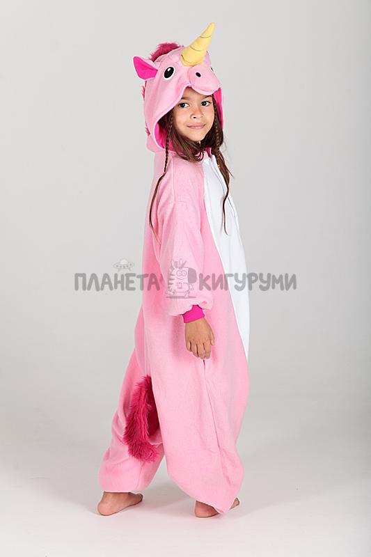 Кигуруми Единорог розовый для детей - купить детскую пижаму Единорог ... 407ce064e6957