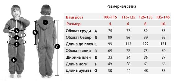 таблица детских размеров Nordic Way